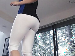 Beautifull white woman with sexy legs shows her amazing curvy ass