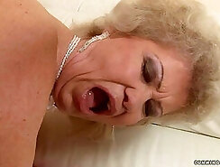 slim granny flashes her boobs for cash