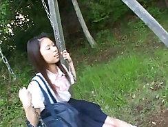 Black schoolgirl foreplay in the sun