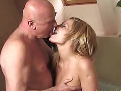 Arousing play with grandpa cock