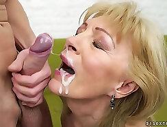 Blond Ebony Vixen Granny Ally Fucked And Facial Cum Outl