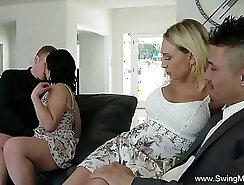 Cute coed girls share a huge cock