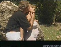 Blonde pregnant mom sucking huge dick outdoors
