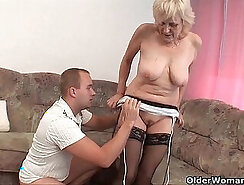 Cocksucker in stocking fucked and takes facial