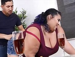 Busty student seducing a fat fuck
