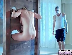 Babe with oiled up ass is geeting pissed on and nailed