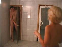 Elena years old russian mom in sauna with young guy Cum hotter than water