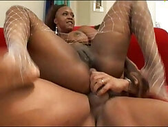 Black ebony babe Vida Valentine in anal MMFthreesome with Lex