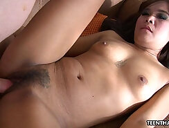 Adorable Thai girl Lina is banged in the back seat of the car