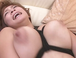 Busty curvy MILF fuck her shaved pussy with toy