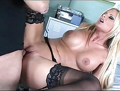 Busty raven haired babe rides in thigh high stockings and black sex boat