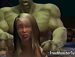 Foxy 3D babe gets fucked by The Incredible Hulk high