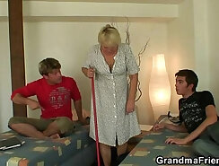 Two buddies fuck cleaning granny
