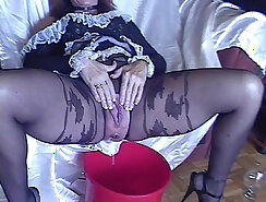 Big missed shy bones mobile phone turn over pantyhose tight anal peeing