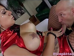 Big tits white mistress playing with her dame
