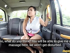 Busty tgirl Lisa Tess cunt fucked in the fake taxi